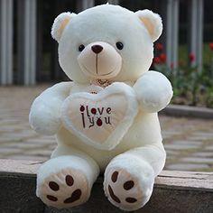 Giant Teddy Bear Soft I Love You Valentines Stuffed Plush Toy Kids Birthday Gift Huge Teddy Bears, Giant Teddy Bear, White Teddy Bear, Kids Birthday Gifts, Plush Animals, Stuffed Animals, Bear Wallpaper, Cute Plush, Toys