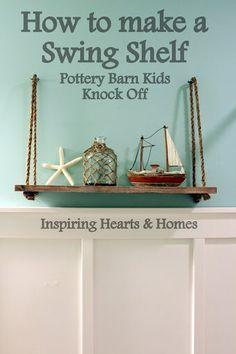 DIY swing shelf, nautical, pottery barn kids swing shelf - half bathroom idea to match sea theme Nautical Bedroom, Nautical Bathrooms, Nautical Home, Nautical Theme Bathroom, Pirate Bathroom, Ocean Bedroom, Nautical Gifts, Nautical Design, Vintage Nautical