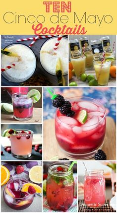 10 Cinco de Mayo Cocktails, these are killer and will go great with tacos and chips and salsa! {Domestic Super Hero}