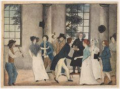 """""""The Wedding."""" By and unknown American artist. Philadelphia Museum of Art. Bridal Boxes, Uk History, Georgian Era, Philadelphia Museum Of Art, French Grey, Pink Christmas, Here Comes The Bride, Historical Clothing, Fashion Plates"""