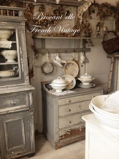 I want modern drawer slides, the ones that self close the last inch. That would be unexpected. Decor, Shabby Chic Decor, Interior, French Country Decorating, Country Decor, Vintage Home Decor, Vintage House, French Interior, Shabby Cottage