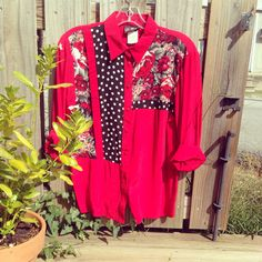 80'a floral and polka blouse