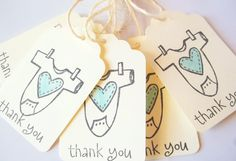 Vintage Style Baby Shower Favor Tags- Boy or Girl. $6.50, via Etsy.