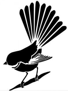 Animal Stencil, Bird Stencil, Stencil Patterns, Stencil Designs, Stencil Stickers, Stencils, New Zealand Tattoo, Bird Sketch, Maori Designs