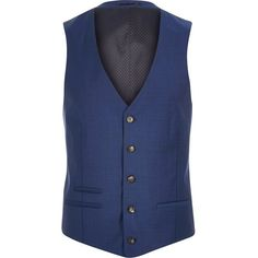 River Island Blue wool-blend suit waistcoat ($46) ❤ liked on Polyvore featuring men's fashion, men's clothing, men's outerwear, men's vests and suits