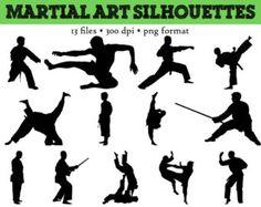13 Martial Arts Silhouettes // Taekwondo Silhouette // Karate // Judo Clip Art // Kick Boxing Silhouettes // Fencing