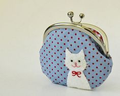 Coin purse white cat red polka dots on blue by oktak on Etsy