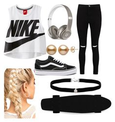 """""""my life skateboarding LOL"""" by tiffany-duque on Polyvore featuring NIKE, Boohoo, Vans, Beats by Dr. Dre and Amanda Rose Collection"""