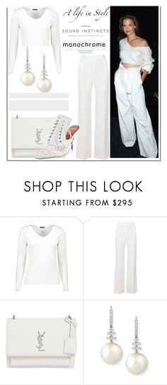 """""""Monochrome with Katie Holmes..."""" by nfabjoy ❤ liked on Polyvore featuring Roland Mouret, Yves Saint Laurent, Belpearl, Givenchy, monochrome and celebstyle"""