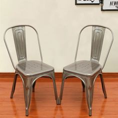 Adeco Silver Metal Stackable Industrial Dining Chairs