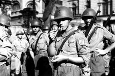 Brazilian soldiers of the Brazilian Expeditionary Force (BEF) are photographed at the Battle of Monte Cassino during the Italian Campaign. 25,700 Brazilian men and women arranged by the Army and Air Force fought alongside the Allied forces in the Mediterranean Theater. Brazil was the only independent South American country to send troops to fight in the war.