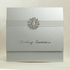 Pocket Invitation with 3 Information Cards with Ribbon & Diamante Slider - Available In Various Colours - Pocket Wedding Invitations - Wedding Invitations - Weddings Pocket Invitation, Pocket Wedding Invitations, Invites, Sliders, Stamping, Ribbon, Wedding Rings, Stud Earrings, Colours