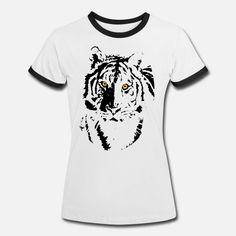 Tiger designed by Felix Heinrich Frauen Ringer T-Shirt Tiger Design, Pullover, Mens Tops, Fashion, Yellow Eyes, Chic, Kleding, Moda, Fashion Styles