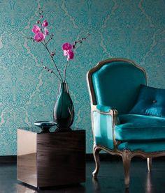 Wallpaper / papier peint bleu pétole....