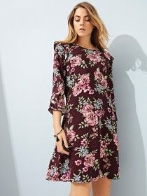 Embrace pretty floral prints and update your wardrobe with this stylish shift dress. Featuring ruffle detailing on the shoulders and sleeves, it'll make a gr. Peacocks, Day Dresses, Catwalk, Going Out, Floral Prints, Women Wear, Stylish, Purple, Pretty