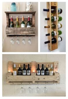 Vin Palette, Palettes Murales, Kitchen Cabinet Design, Rustic Furniture, Storage Spaces, Wine Rack, Sweet Home, Woodworking, Cool Stuff