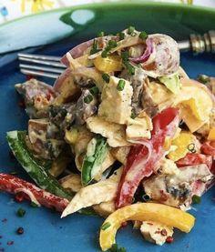Салат из сладкого перца с грибами - Империя вкусов Potato Salad, Potatoes, Ethnic Recipes, Food, Potato, Essen, Meals, Yemek, Eten