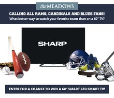 "10/12/15  Enter to Win a 60"" LED Smart TV via The Meadows! #Giveaway #Entertainment  http://woobox.com/vpkm9y/g0aak7"