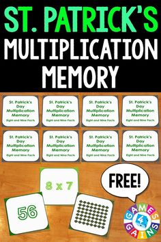 FREE St. Patrick's Day Math Multiplication Memory Game makes practicing eights and nines multiplication facts fun! Included are 45 memory cards for students to match the multiplication array, multiplication fact, and product. This is a perfect St. Patrick's Day activity for small groups and centers!