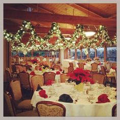 Christmas wedding garland hanging from ceilings