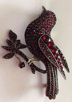 Rare bohemian garnet victorian bird pin