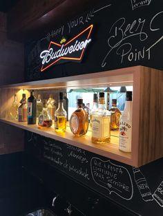 Home Bar shelves Home Bar Rooms, Diy Home Bar, Home Pub, Bars For Home, Bar Interior, Pub Bar, Cafe Bar, Lampe Jack Daniels, Billard Bar