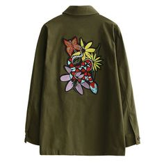 Retro Embroidered Shirt Collar Coat Army Green (1.715 RUB) ❤ liked on Polyvore featuring outerwear, coats, jackets, brown coat, green military coat, army green coat, embroidered coat and olive green coat