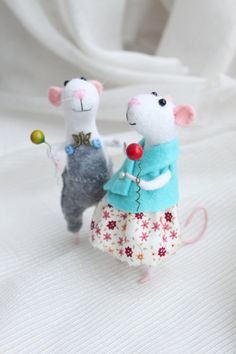 Cute mouse Wool Felted mice family Two White от WorkshopTatyanas