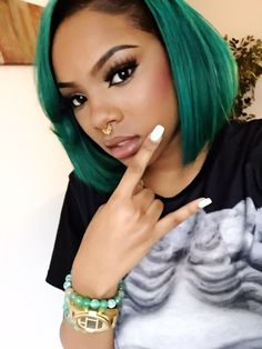 Teal Green Coloured Hair
