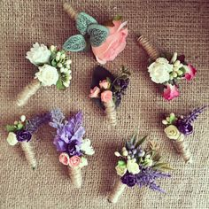 Wedding accessories Grooms boutonnière For him Burlap Flowers, Fabric Flowers, Paper Flowers, Cork Crafts, Diy And Crafts, Japanese Ornaments, Burlap Boutonniere, Flower Picture Frames, Bunny Crafts