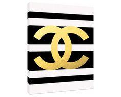 Gold Chanel Logo - Custom Fashion Art Priont - Customizeable Chanel - Home Decor - wall art - fashion art on Etsy, $69.00