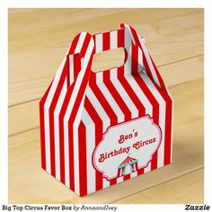 Shop Big Top Circus Favor Box created by AnnaandIvey. Carnival Party Favors, Circus Carnival Party, Circus Theme Party, Carnival Themes, Carnival Birthday Parties, Circus Birthday, Birthday Party Invitations, 3rd Birthday, Birthday Ideas