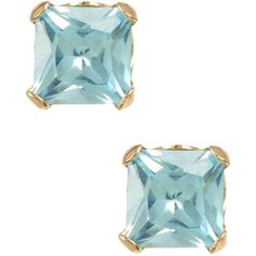 Candela 10K Yellow Gold 4mm Blue Princess CZ Stud Earrings ($20) ❤ liked on Polyvore featuring jewelry, earrings, cubic zirconia earrings, post earrings, blue earrings, gold cubic zirconia earrings and yellow gold stud earrings