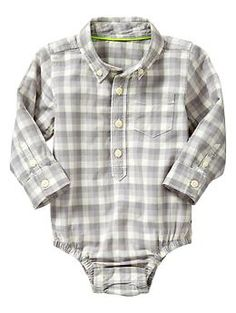 button down shirts is to boys as ruffle dresses is to girls (to me), that is, LOVE    Plaid bodysuit | Gap