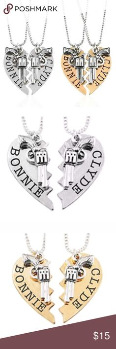 f897e3564b BONNIE AND CLYDE COUPLES NECKLACES His and Hers Bonnie and Clyde half heart  necklace set.