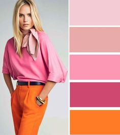 Pink and orange color scheme Colour Combinations Fashion, Color Combinations For Clothes, Color Blocking Outfits, Fashion Colours, Colorful Fashion, Color Combos, Orange Fashion, Mode Outfits, Fashion Outfits