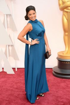 Gina Rodriguez on the red carpet at the 87th Academy Awards.