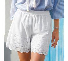 Šortky s výšivkou a vlnkovaným zakončením | blancheporte.cz #blancheporte #blancheporteCZ #blancheporte_cz #letnikolekce #leto #oblibene Lace Shorts, White Shorts, Short Dresses, Women, Fashion, Short Gowns, Moda, Women's, La Mode