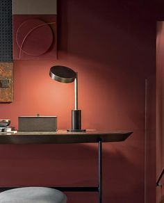 Shakedesign_Tables and desks_Ann oval writing desk with wooden top in C48 bronzo chiaro, black metal legs