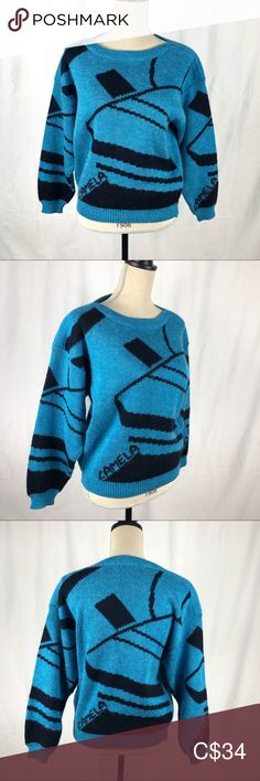 Vintage Electric Blue Dad Sweater by Camela Black Rock, Plus Fashion, Fashion Tips, Fashion Trends, Vintage Sweaters, Electric Blue, Vintage Ladies, Mom Jeans, Sweaters For Women
