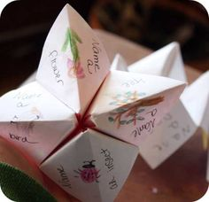 I think this would be a lot of fun to play with kids! Make a cootie-catcher that instructs kids to explore nature (e.g., walk 10 steps and find a bug, find an animal in the clouds).