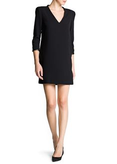Leather detail structured dress by MANGO