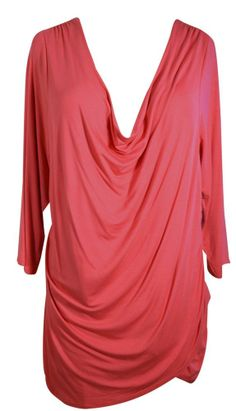 Tahari Blouse Poppy Red Drape Front Ruched Rosalina Shirt - Plus 3X Retail $68 On sale now