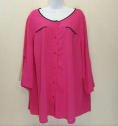 Worthington 3X Shirt Top Blouse Hot Pink Button Front Rayon Plus Size #Worthington #Blouse #EveningOccasion