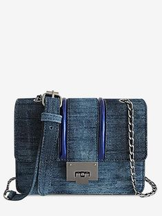 04af6ec3fc37 Denim Retro Striped Flap Crossbody Bag. Mix X Mix · Bags