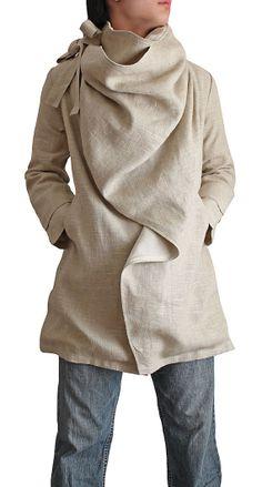 UGH I WISH  Soft Hemp Front Drape Jacket with LinenCotton Lining by SawanAsia, ¥19990