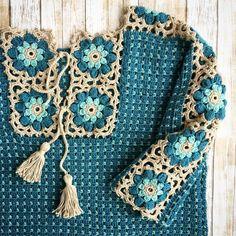 Fabulous Crochet a Little Black Crochet Dress Ideas. Georgeous Crochet a Little Black Crochet Dress Ideas. Crochet Squares, Crochet Granny, Crochet Yarn, Crochet Stitches, Free Crochet, Granny Squares, Crochet Shirt, Crochet Jacket, Knitting Patterns