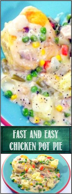 Fast and Easy Chicken Pot Pie... Um Chicken and Biscuits... Take a look... LOADED UP with vegetables (sure, empty out the freezer if you like, they are flash frozen fresh), made easy and FAST with a store bought rotisserie chicken and refrigerator biscuits