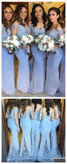 Lavender Off Shoulder Bridesmaid Dresses,Lace Bridesmaid Dress,Long Mermaid