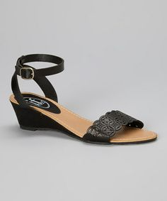 Look at this #zulilyfind! Black Laser Cut Wedge Sandal #zulilyfinds